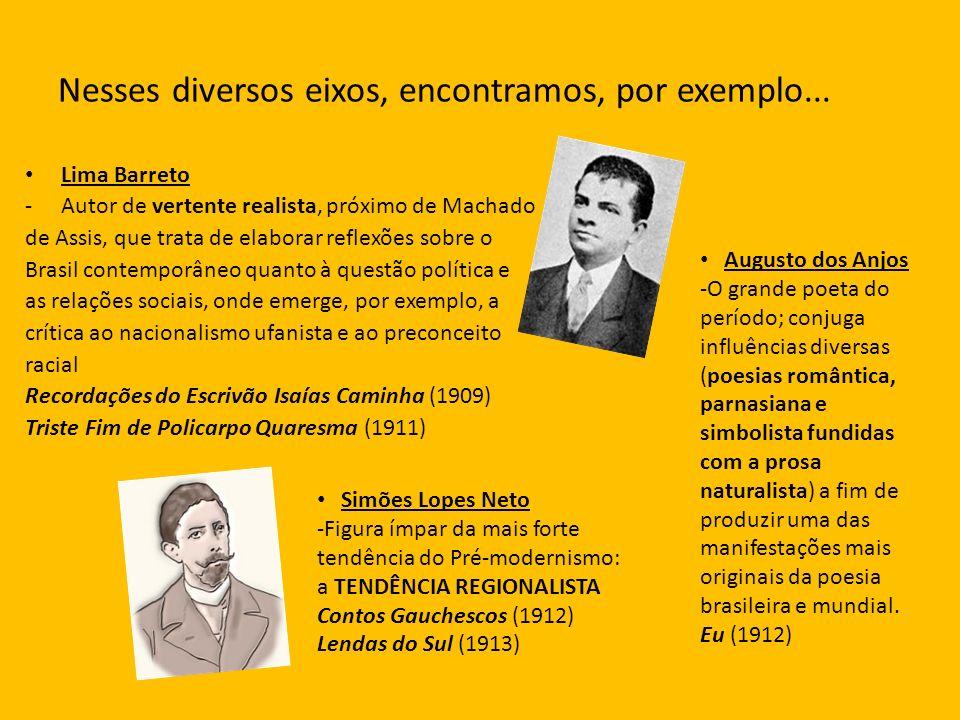 Nesses diversos eixos, encontramos, por exemplo... Lima Barreto -Autor de vertente realista, próximo de Machado de Assis, que trata de elaborar reflex