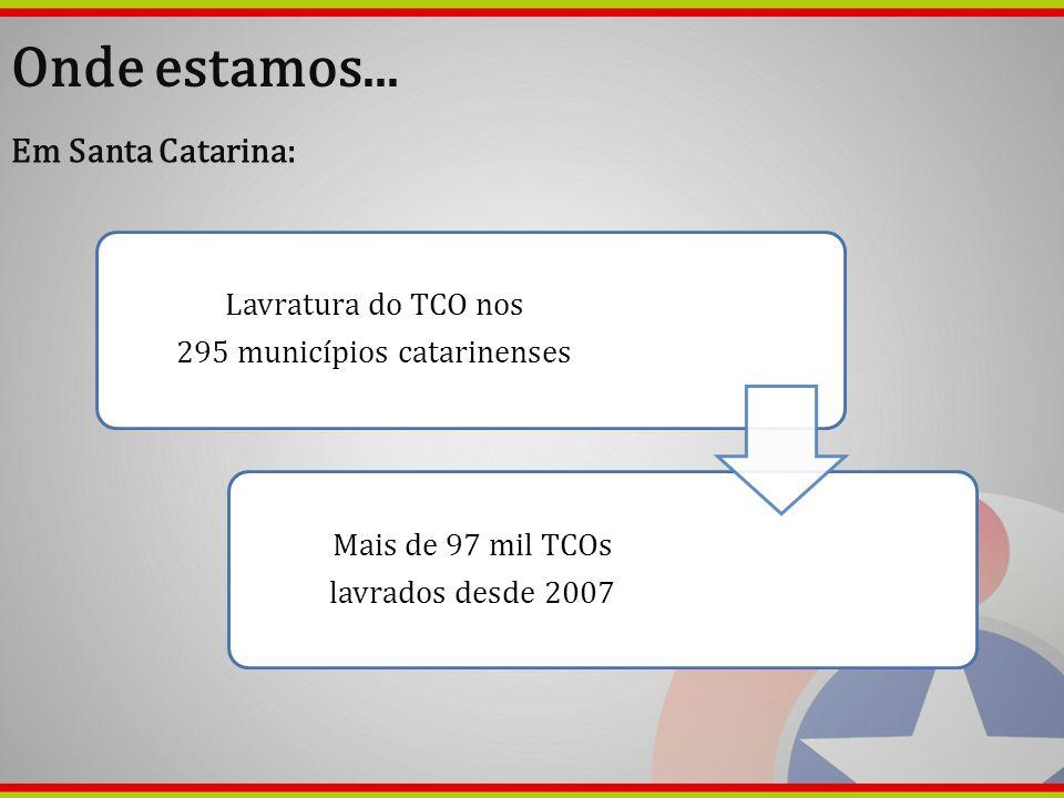 Onde estamos... Em Santa Catarina: Lavratura do TCO nos 295 municípios catarinenses Mais de 97 mil TCOs lavrados desde 2007
