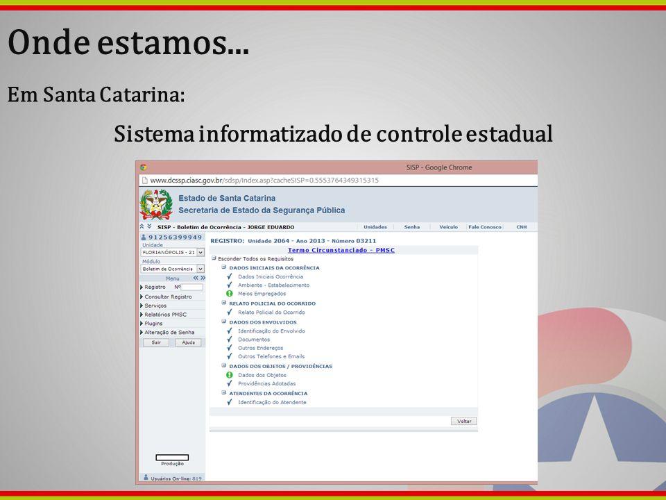 Onde estamos... Em Santa Catarina: Sistema informatizado de controle estadual