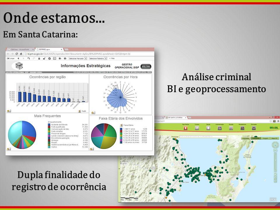 Onde estamos... Em Santa Catarina: Análise criminal BI e geoprocessamento Dupla finalidade do registro de ocorrência