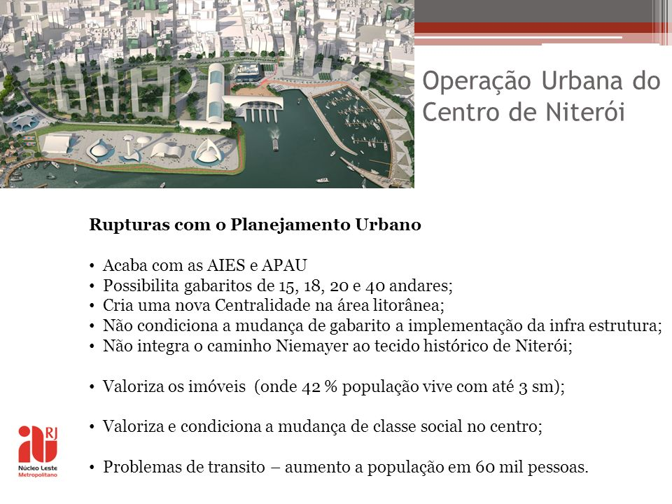 Operação Urbana do Centro de Niterói Rupturas com o Planejamento Urbano Acaba com as AIES e APAU Possibilita gabaritos de 15, 18, 20 e 40 andares; Cri