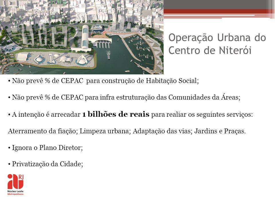 Operação Urbana do Centro de Niterói Não prevê % de CEPAC para construção de Habitação Social; Não prevê % de CEPAC para infra estruturação das Comuni