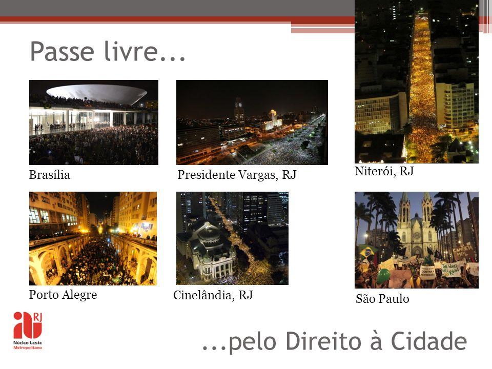 Passe livre... BrasíliaPresidente Vargas, RJ Porto Alegre Cinelândia, RJ Niterói, RJ São Paulo...pelo Direito à Cidade