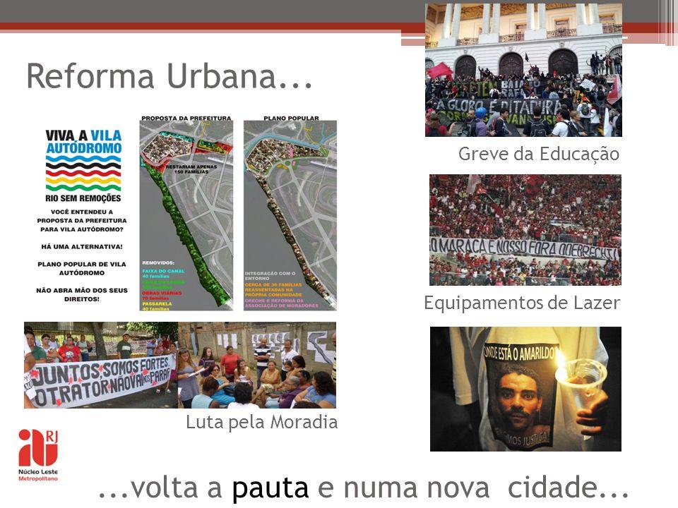 Reforma Urbana... Luta pela Moradia Greve da Educação Equipamentos de Lazer...volta a pauta e numa nova cidade...