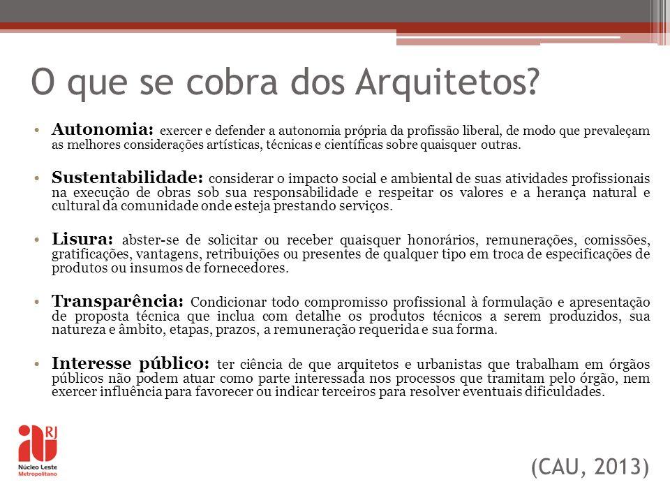 O que se cobra dos Arquitetos? Autonomia: exercer e defender a autonomia própria da profissão liberal, de modo que prevaleçam as melhores consideraçõe