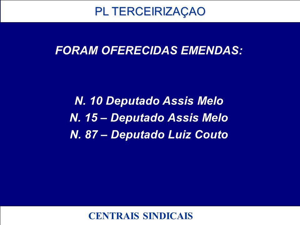 PL TERCEIRIZAÇAO PL TERCEIRIZAÇAO CENTRAIS SINDICAIS FORAM OFERECIDAS EMENDAS: N. 10 Deputado Assis Melo N. 15 – Deputado Assis Melo N. 87 – Deputado