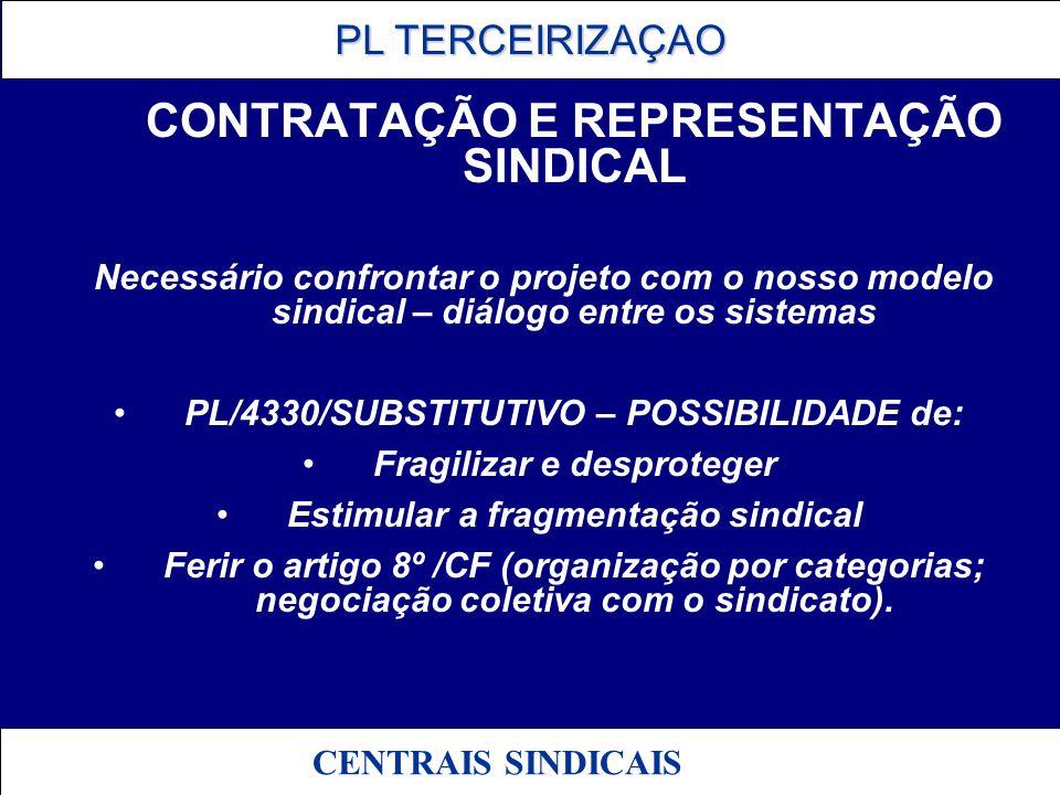 PL TERCEIRIZAÇAO PL TERCEIRIZAÇAO CENTRAIS SINDICAIS CONTRATAÇÃO E REPRESENTAÇÃO SINDICAL Necessário confrontar o projeto com o nosso modelo sindical