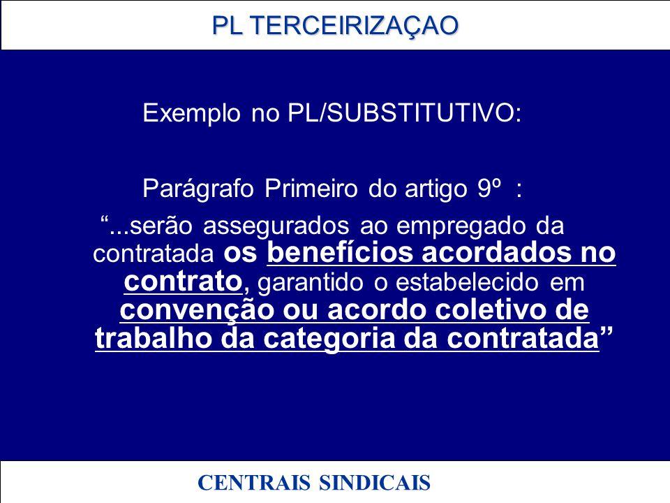 PL TERCEIRIZAÇAO PL TERCEIRIZAÇAO CENTRAIS SINDICAIS Exemplo no PL/SUBSTITUTIVO: Parágrafo Primeiro do artigo 9º :...serão assegurados ao empregado da