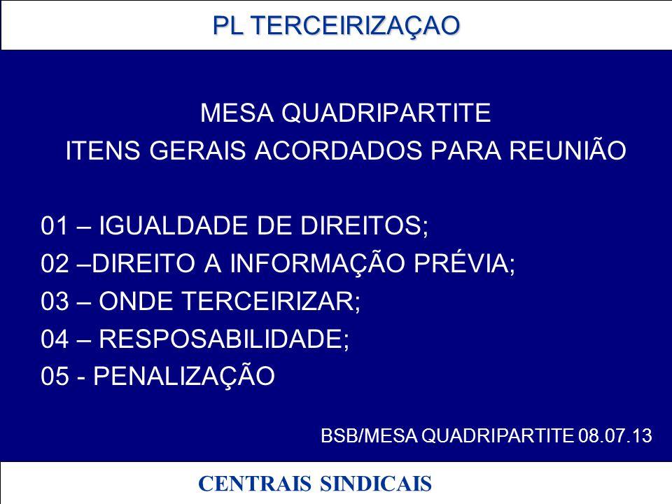 PL TERCEIRIZAÇAO PL TERCEIRIZAÇAO CENTRAIS SINDICAIS 01 - IGUALDADE DE DIREITOS PL 4330/SUBSTITUTIVO – NECESSIDADE DE ACRESCIMO DE LIMITES PODERIA GERAR INSEGURANÇA JURIDICA por alegação de afronta ao Art.