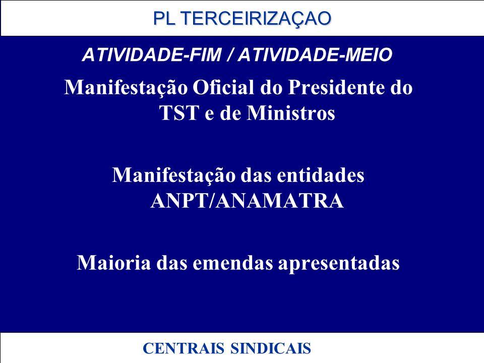 PL TERCEIRIZAÇAO PL TERCEIRIZAÇAO CENTRAIS SINDICAIS ATIVIDADE-FIM / ATIVIDADE-MEIO Manifestação Oficial do Presidente do TST e de Ministros Manifesta