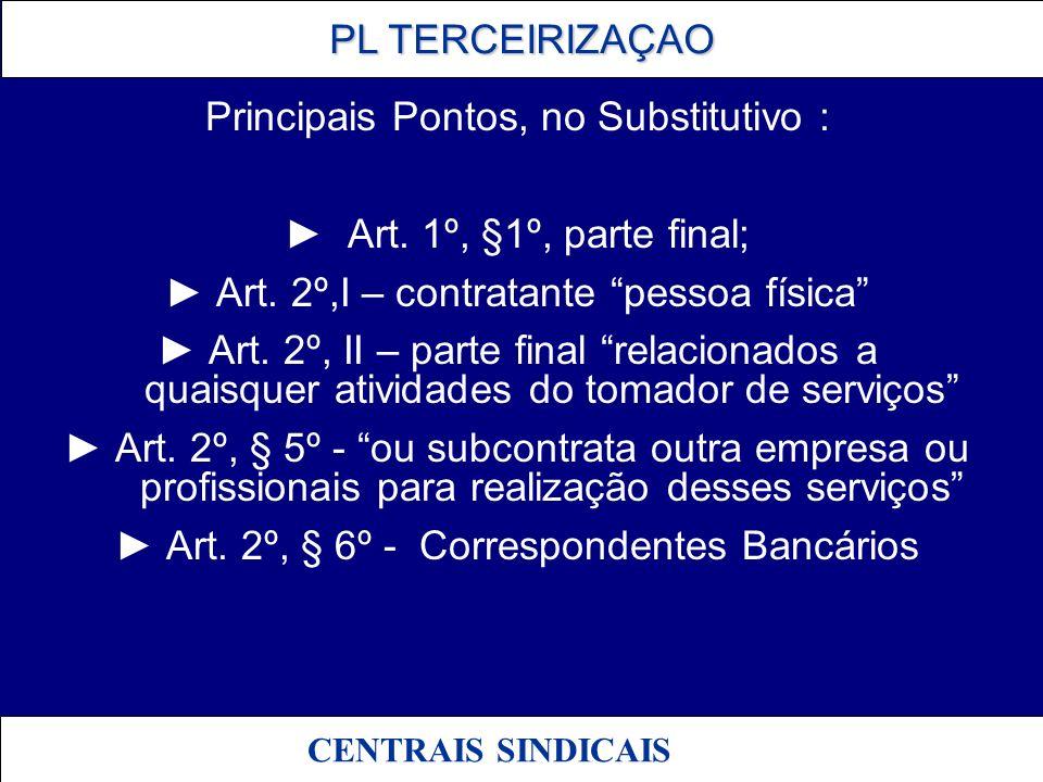 PL TERCEIRIZAÇAO PL TERCEIRIZAÇAO CENTRAIS SINDICAIS Principais Pontos, no Substitutivo : Art. 1º, §1º, parte final; Art. 2º,I – contratante pessoa fí