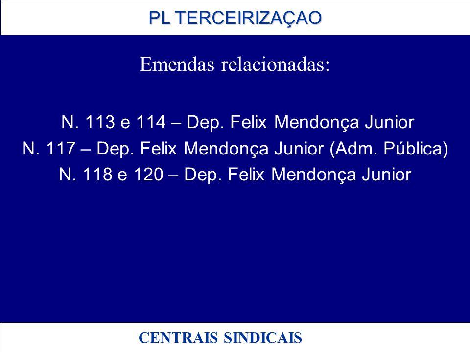 PL TERCEIRIZAÇAO PL TERCEIRIZAÇAO CENTRAIS SINDICAIS Emendas relacionadas: N. 113 e 114 – Dep. Felix Mendonça Junior N. 117 – Dep. Felix Mendonça Juni