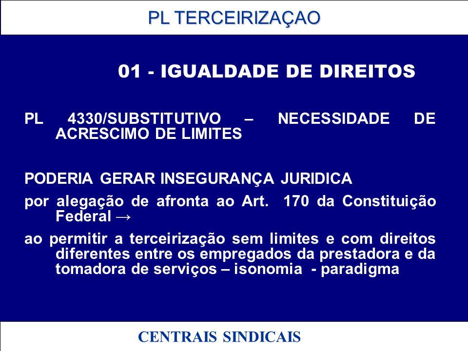 PL TERCEIRIZAÇAO PL TERCEIRIZAÇAO CENTRAIS SINDICAIS 01 - IGUALDADE DE DIREITOS PL 4330/SUBSTITUTIVO – NECESSIDADE DE ACRESCIMO DE LIMITES PODERIA GER