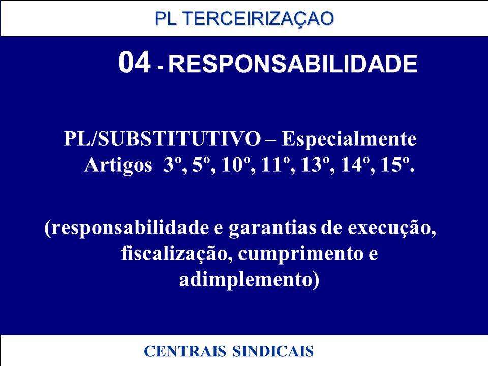 PL TERCEIRIZAÇAO PL TERCEIRIZAÇAO CENTRAIS SINDICAIS 04 - RESPONSABILIDADE PL/SUBSTITUTIVO – Especialmente Artigos 3º, 5º, 10º, 11º, 13º, 14º, 15º. (r