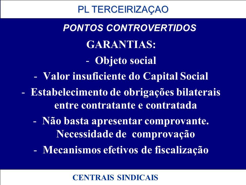 PL TERCEIRIZAÇAO PL TERCEIRIZAÇAO CENTRAIS SINDICAIS PONTOS CONTROVERTIDOS GARANTIAS: -Objeto social -Valor insuficiente do Capital Social -Estabeleci