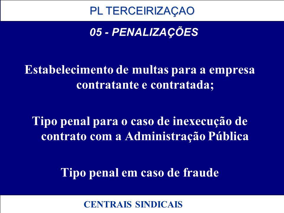 PL TERCEIRIZAÇAO PL TERCEIRIZAÇAO CENTRAIS SINDICAIS 05 - PENALIZAÇÕES Estabelecimento de multas para a empresa contratante e contratada; Tipo penal p