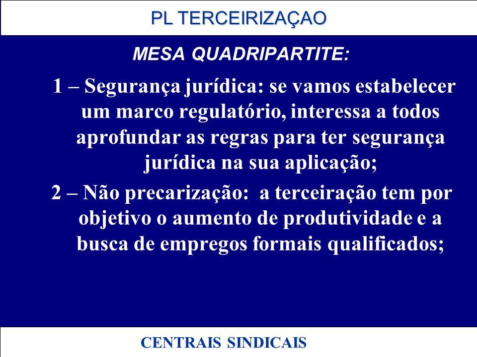 PL TERCEIRIZAÇAO PL TERCEIRIZAÇAO CENTRAIS SINDICAIS MESA QUADRIPARTITE: 1 – Segurança jurídica: se vamos estabelecer um marco regulatório, interessa
