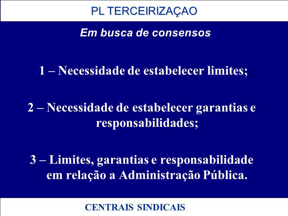 PL TERCEIRIZAÇAO PL TERCEIRIZAÇAO CENTRAIS SINDICAIS Em busca de consensos 1 – Necessidade de estabelecer limites; 2 – Necessidade de estabelecer gara