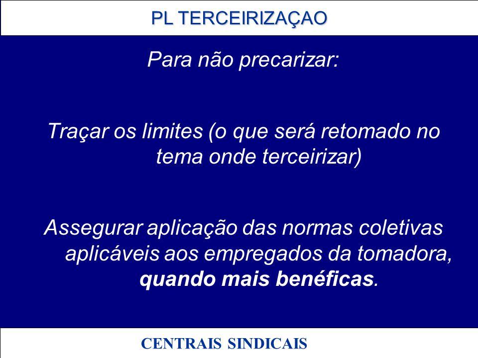 PL TERCEIRIZAÇAO PL TERCEIRIZAÇAO CENTRAIS SINDICAIS Emendas relacionadas: N.06 e 07 – Dep.