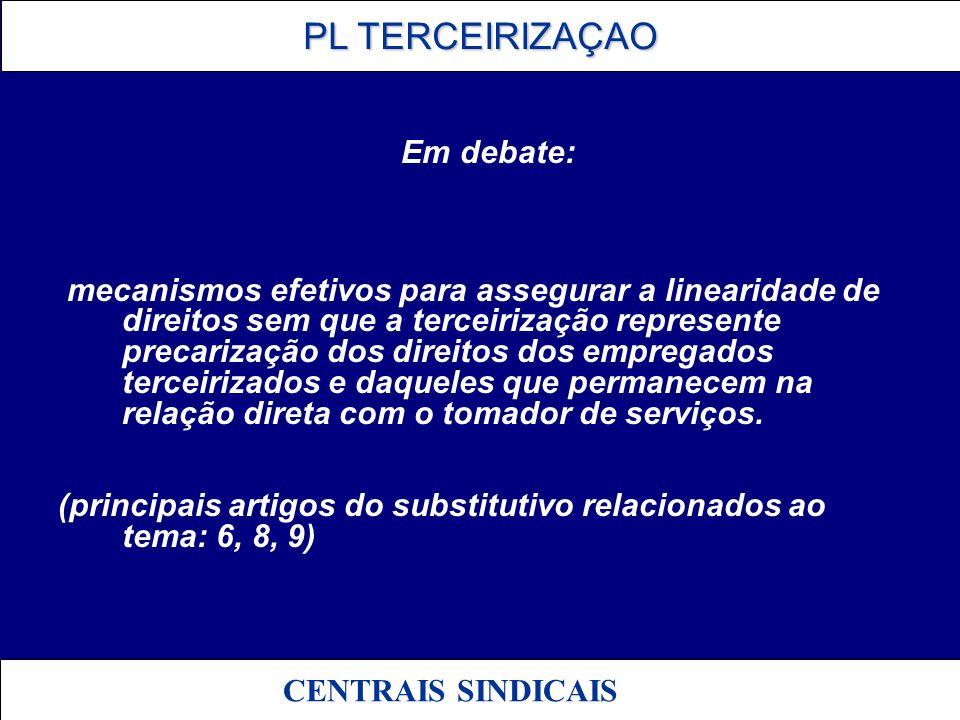 PL TERCEIRIZAÇAO PL TERCEIRIZAÇAO CENTRAIS SINDICAIS 04 - RESPONSABILIDADE PL/SUBSTITUTIVO – Especialmente Artigos 3º, 5º, 10º, 11º, 13º, 14º, 15º.