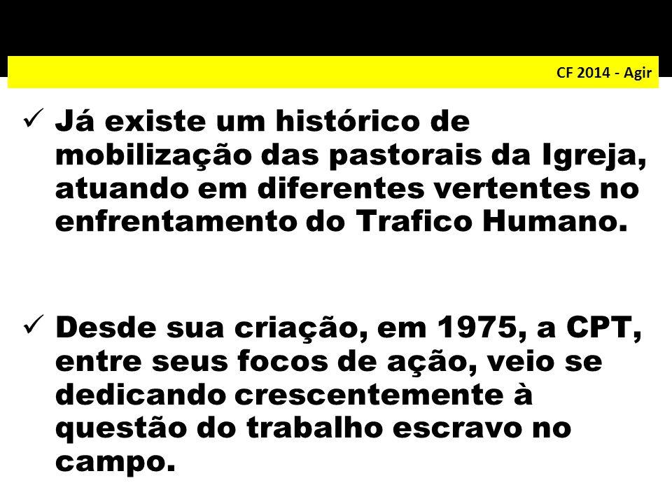 CF 2014 - Agir Já existe um histórico de mobilização das pastorais da Igreja, atuando em diferentes vertentes no enfrentamento do Trafico Humano. Desd