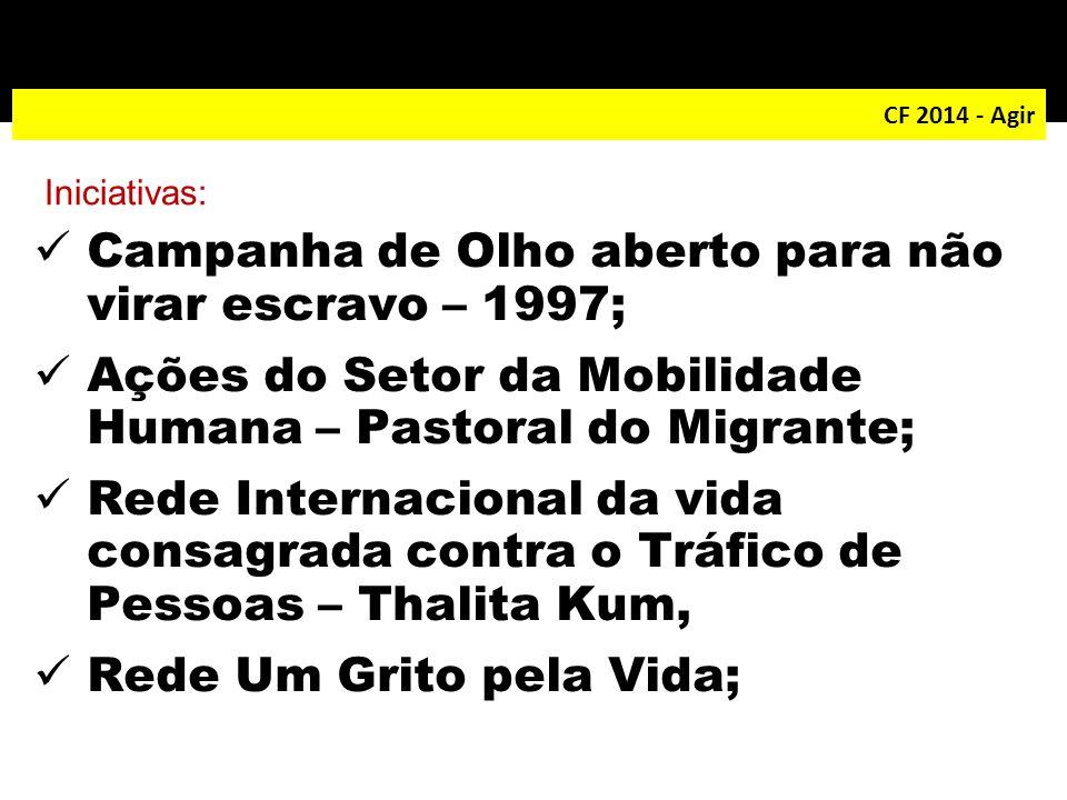CF 2014 - Agir Iniciativas: Campanha de Olho aberto para não virar escravo – 1997; Ações do Setor da Mobilidade Humana – Pastoral do Migrante; Rede In