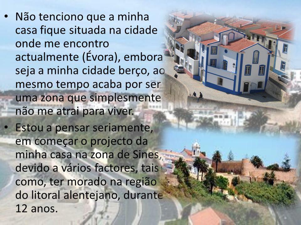 Não tenciono que a minha casa fique situada na cidade onde me encontro actualmente (Évora), embora seja a minha cidade berço, ao mesmo tempo acaba por ser uma zona que simplesmente não me atrai para viver.
