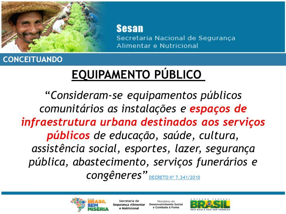 CONCEITUANDO Consideram-se equipamentos públicos comunitários as instalações e espaços de infraestrutura urbana destinados aos serviços públicos de ed