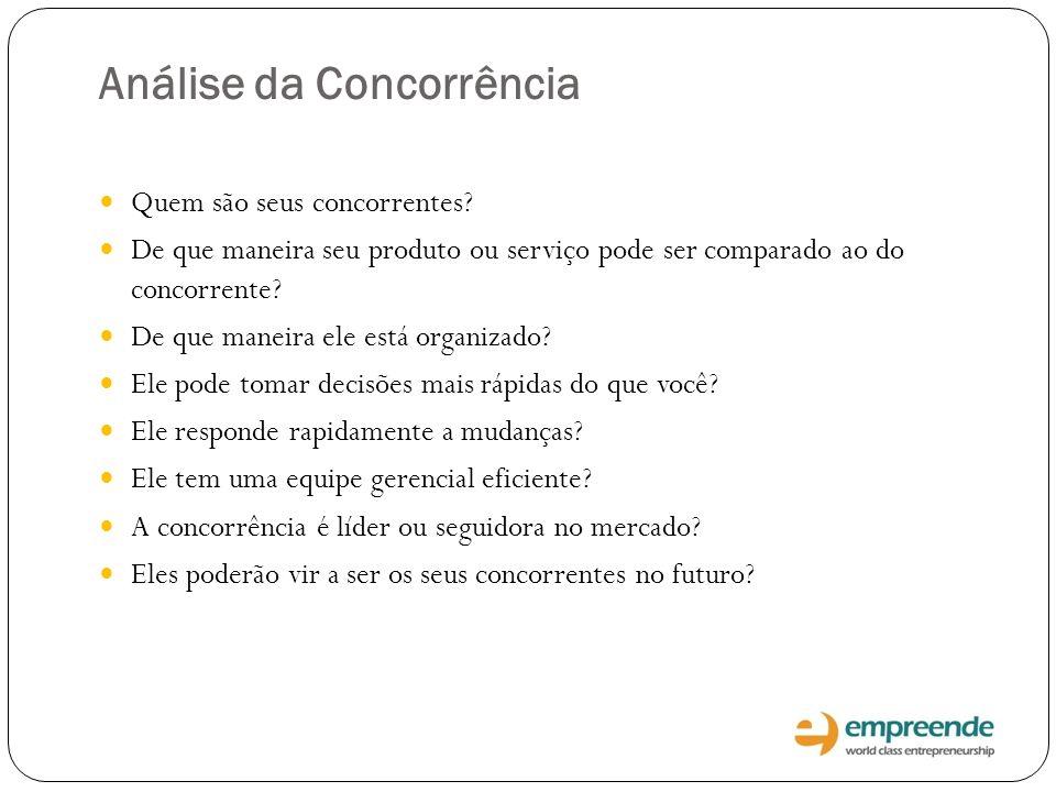 Análise da Concorrência Quem são seus concorrentes? De que maneira seu produto ou serviço pode ser comparado ao do concorrente? De que maneira ele est