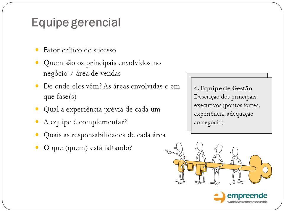 4. Equipe de Gestão Descrição dos principais executivos (pontos fortes, experiência, adequação ao negócio) Equipe gerencial Fator crítico de sucesso Q