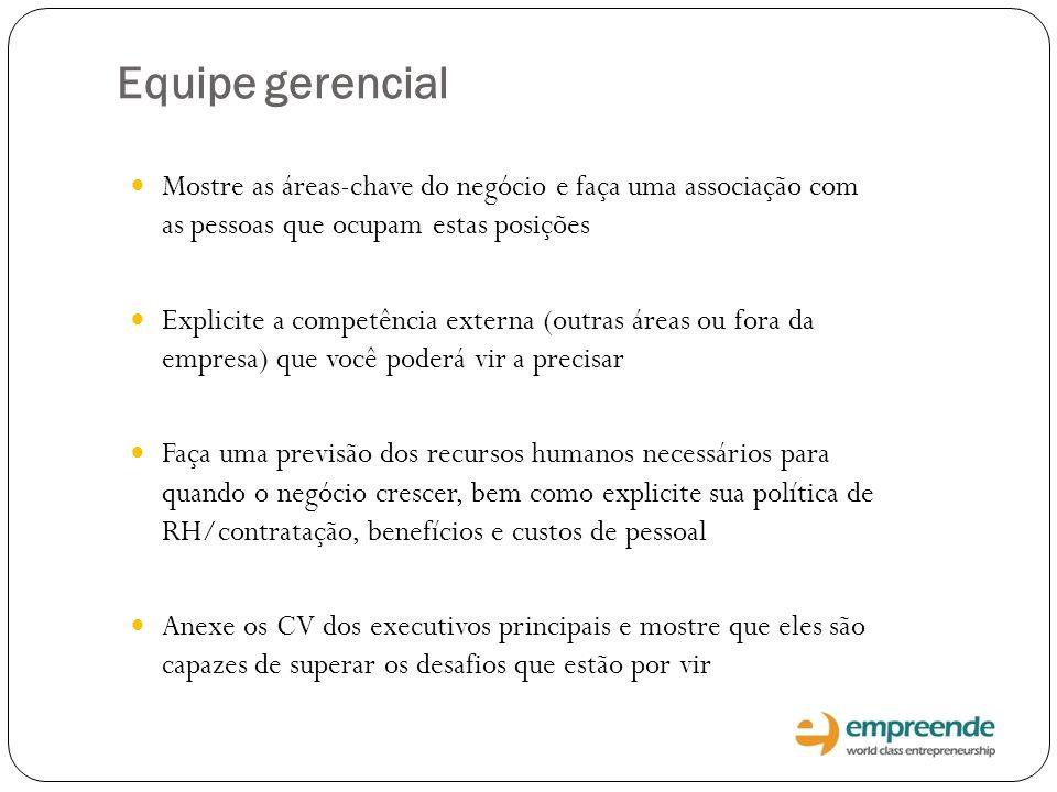 Equipe gerencial Mostre as áreas-chave do negócio e faça uma associação com as pessoas que ocupam estas posições Explicite a competência externa (outr