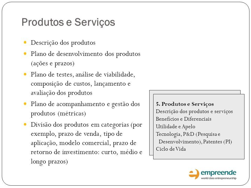 Produtos e Serviços 5. Produtos e Serviços Descrição dos produtos e serviços Benefícios e Diferenciais Utilidade e Apelo Tecnologia, P&D (Pesquisa e D