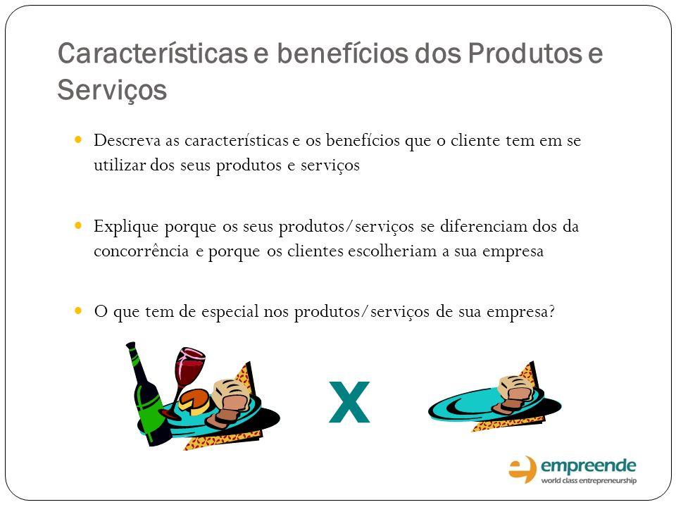 X Características e benefícios dos Produtos e Serviços Descreva as características e os benefícios que o cliente tem em se utilizar dos seus produtos