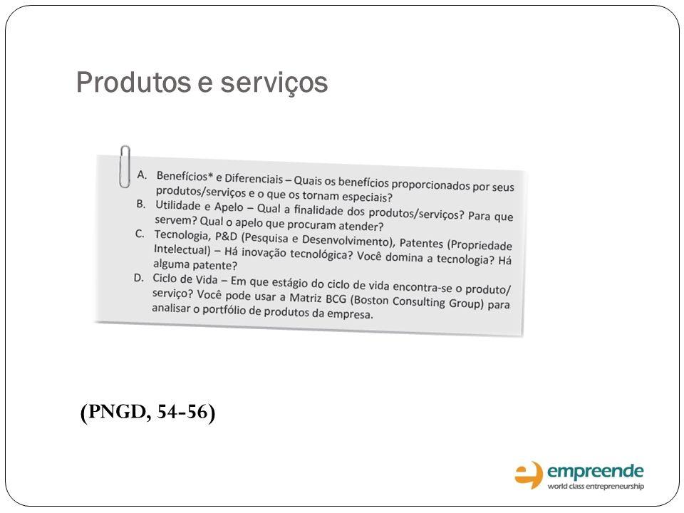 Produtos e serviços (PNGD, 54-56)