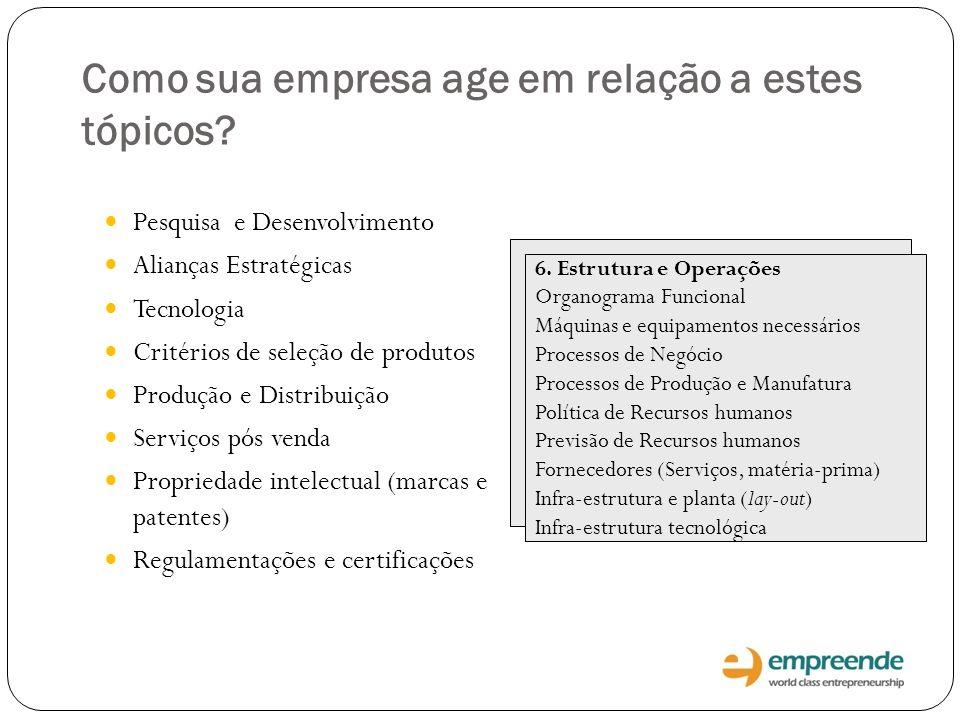 Como sua empresa age em relação a estes tópicos? Pesquisa e Desenvolvimento Alianças Estratégicas Tecnologia Critérios de seleção de produtos Produção