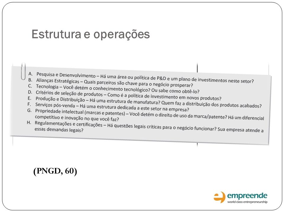Estrutura e operações (PNGD, 60)