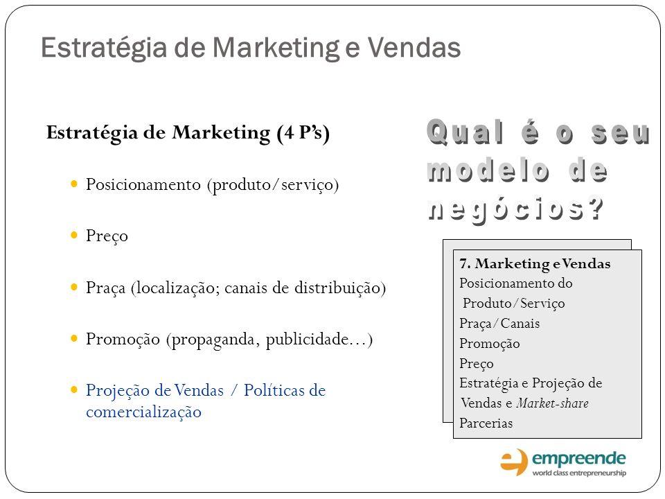 Estratégia de Marketing e Vendas Estratégia de Marketing (4 Ps) Posicionamento (produto/serviço) Preço Praça (localização; canais de distribuição) Pro
