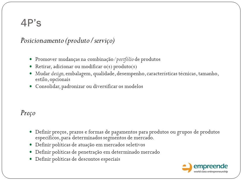 4Ps Posicionamento (produto/serviço) Promover mudanças na combinação/portfólio de produtos Retirar, adicionar ou modificar o(s) produto(s) Mudar desig