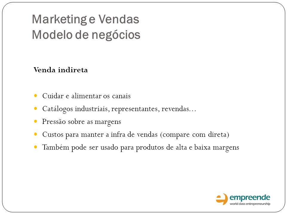 Marketing e Vendas Modelo de negócios Venda indireta Cuidar e alimentar os canais Catálogos industriais, representantes, revendas... Pressão sobre as