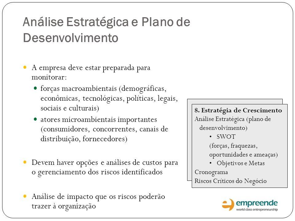 Análise Estratégica e Plano de Desenvolvimento A empresa deve estar preparada para monitorar: forças macroambientais (demográficas, econômicas, tecnol