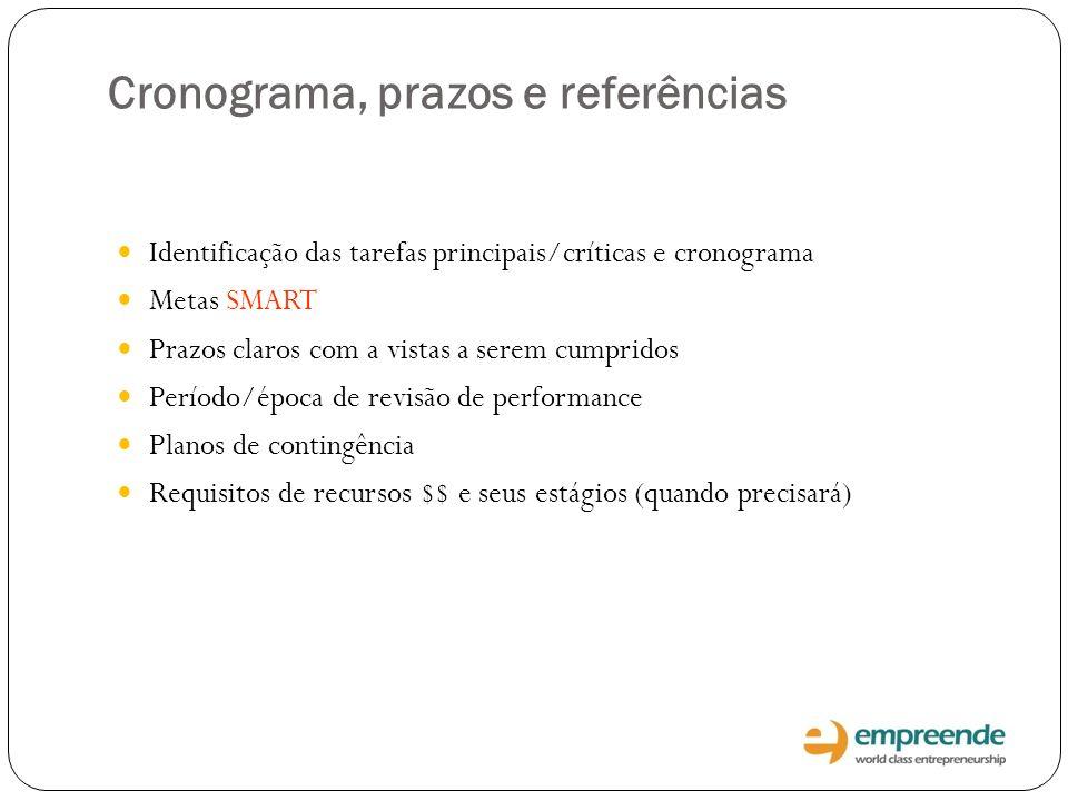 Cronograma, prazos e referências Identificação das tarefas principais/críticas e cronograma Metas SMART Prazos claros com a vistas a serem cumpridos P