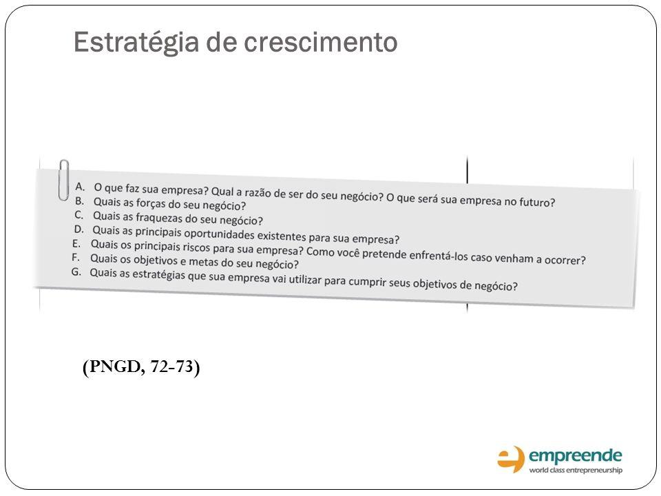 (PNGD, 72-73) Estratégia de crescimento