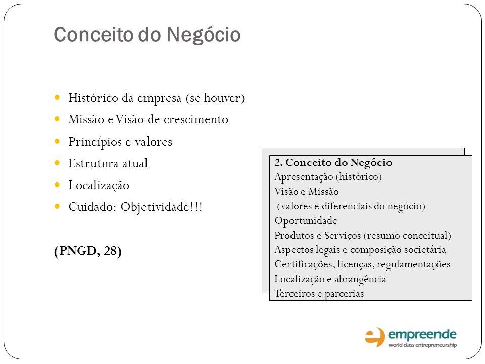 Conceito do Negócio Histórico da empresa (se houver) Missão e Visão de crescimento Princípios e valores Estrutura atual Localização Cuidado: Objetivid
