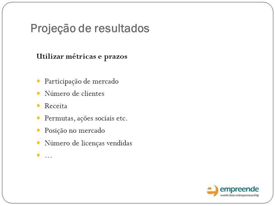 Projeção de resultados Utilizar métricas e prazos Participação de mercado Número de clientes Receita Permutas, ações sociais etc. Posição no mercado N