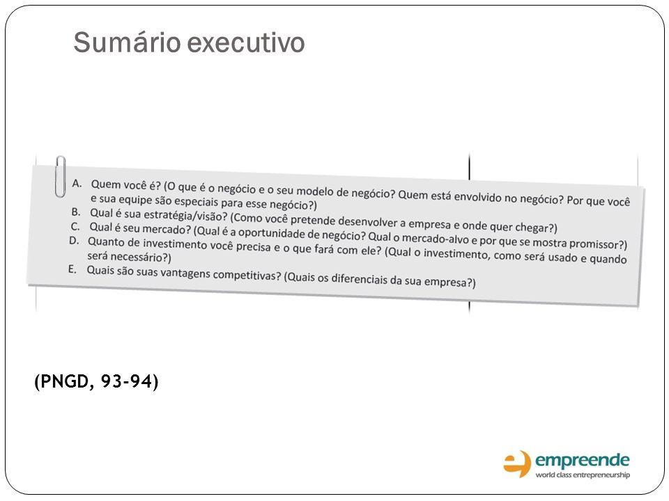 (PNGD, 93-94) Sumário executivo