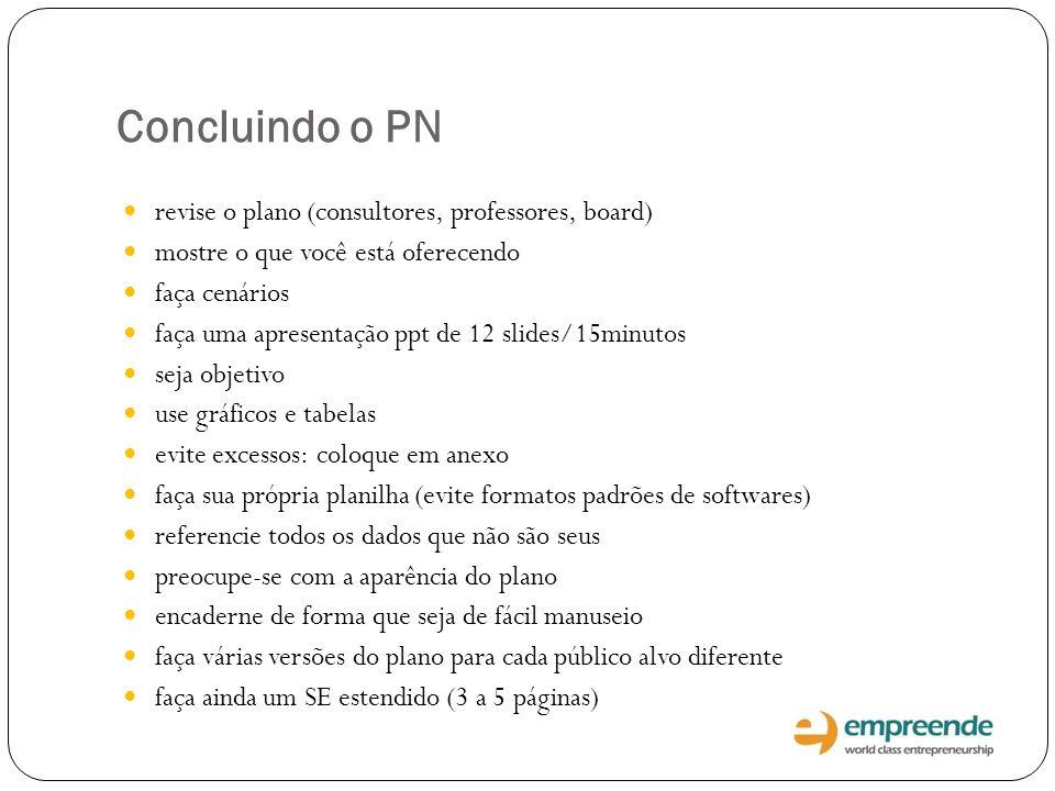 Concluindo o PN revise o plano (consultores, professores, board) mostre o que você está oferecendo faça cenários faça uma apresentação ppt de 12 slide