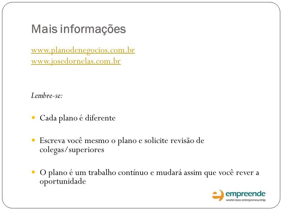Mais informações www.planodenegocios.com.br www.josedornelas.com.br Lembre-se: Cada plano é diferente Escreva você mesmo o plano e solicite revisão de