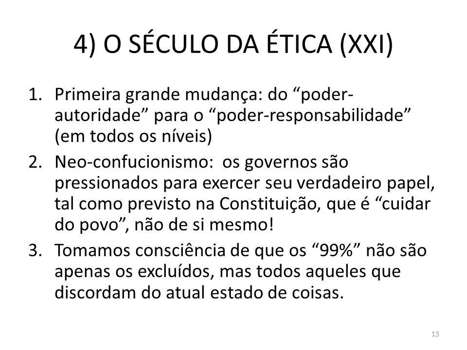 4) O SÉCULO DA ÉTICA (XXI) 1.Primeira grande mudança: do poder- autoridade para o poder-responsabilidade (em todos os níveis) 2.Neo-confucionismo: os