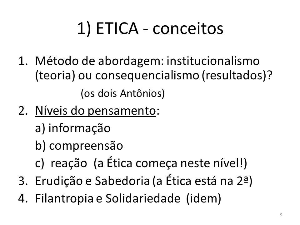1) ETICA - conceitos 1.Método de abordagem: institucionalismo (teoria) ou consequencialismo (resultados)? (os dois Antônios) 2.Níveis do pensamento: a