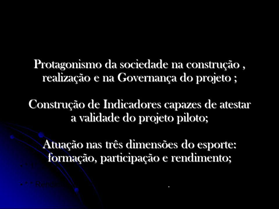 Protagonismo da sociedade na construção, realização e na Governança do projeto ; Construção de Indicadores capazes de atestar a validade do projeto pi